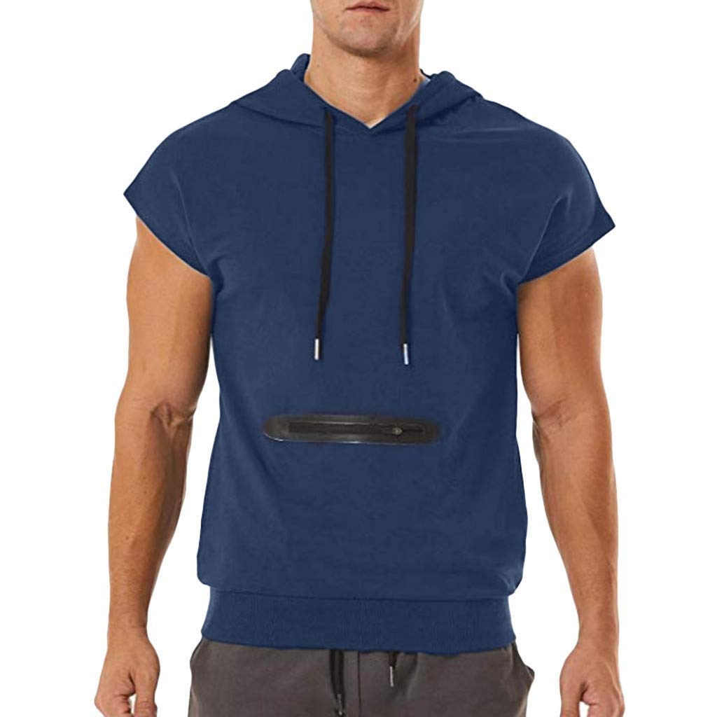 Hermia Men's Summer Casual Zipper Pocket Hoodie T-Shirt Short Sleeve Drawstring Pullover Top Tee Sweatshirts (Color : Navy, Size : XXX-Large)