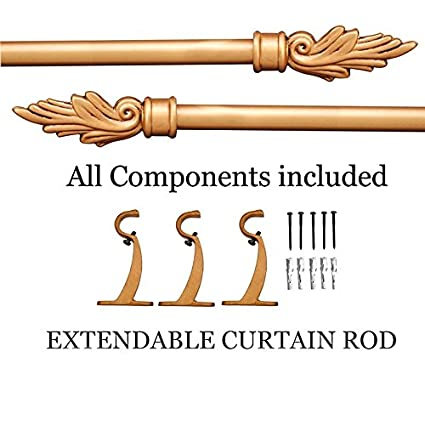 Deco Window Flame Extendable Curtain Rod Gold Matt Brown Wash 36-66