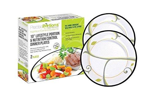 Precise Portions PPNCS-2LRP Elegant Portion Control Dinner Plates, Dietitian Developed, Help Maintain Weight, Blood Sugar, Metabolism, Blood Pressure Optimum, Porcelain China Dinnerware (Pack of 2)