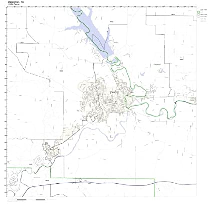 Amazon Com Manhattan Ks Zip Code Map Not Laminated Home Kitchen