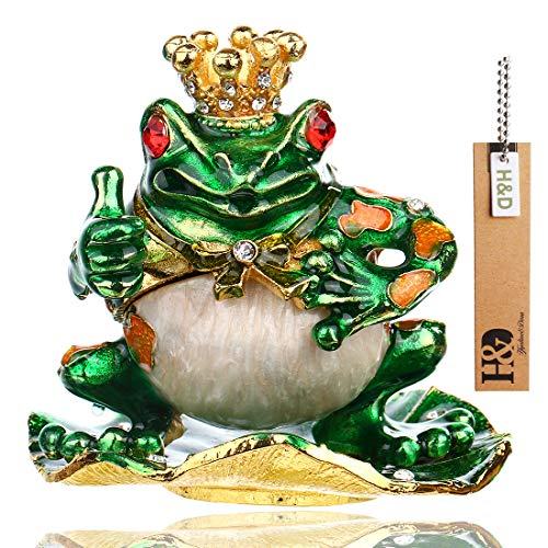 YU FENG Frog Prince Jewelry Trinket Boxes for Girl w/Rhinestone/Alloy Animal Ring Holder Trinket Box Hinged Jewelry Box