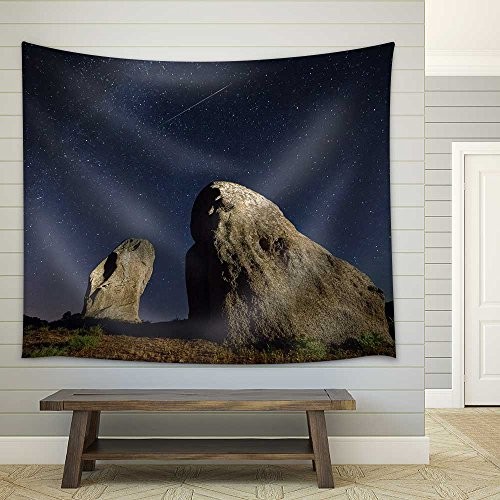 Real Night Sky Landscape with a Perseid Meteor and Two Menhirs Fabric Wall Tapestry