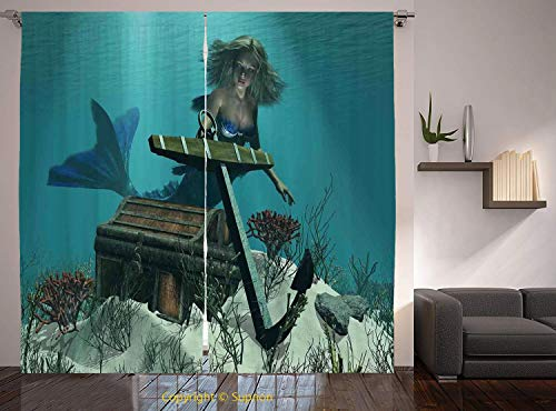 Living Room Bedroom Window Drapes/Rod Pocket Curtain Panel Satin Curtains/2 Curtain Panels/108 x 90 Inch/Mermaid,Mermaid in the Ocean Sea Discovering Pirates Treasure Chest Mythical Art Print,Azure Br