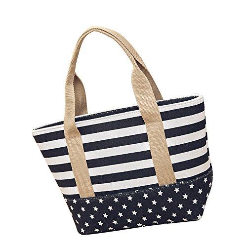 Bolso de Hombro Mujer Logobeing Multicolor Rayas Lona Bolso Bandolera Bolso Totalizador Shoppers Bags Negro