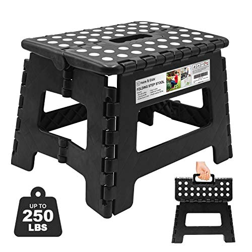 Heim & Elda Folding Step Stool, Super Strong Plastic 9 inch Step Stool for Kids and Adults with Handles, Black
