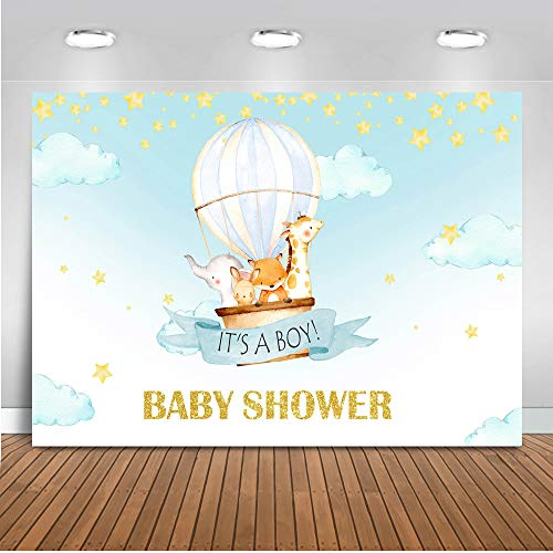 Up Up And Away Baby Shower (Mocsicka Hot Air Balloon Baby Shower Backdrop Jungle Animals Baby Boy Background 7x5ft Vinyl Up Up and Away Adventure Baby Shower)