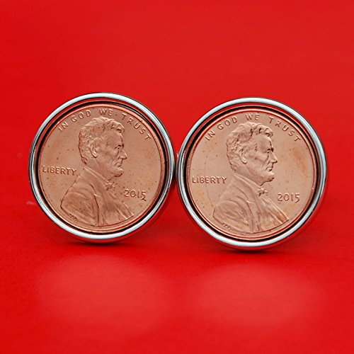 US 2015 Lincoln Small Cent BU Uncirculated Coin Silver Plated Cufflinks NEW - Lucky Penny by jt6740
