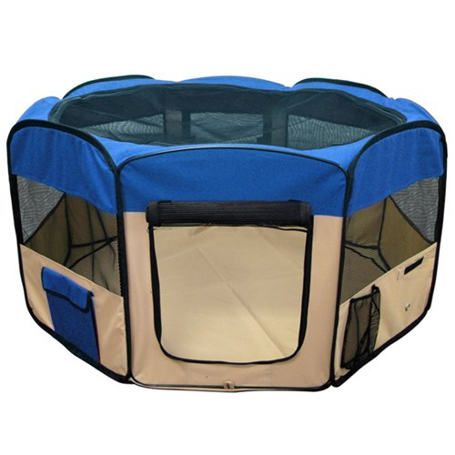 Best Choice Products Pet Puppy Dog Playpen Exercise Pen Kennel 600d Oxford Cloth 45 Blue