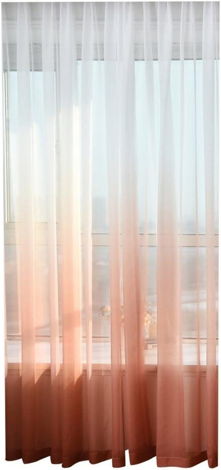 Everpert Gradient Color Tulle Sheer Door Window Screening Curtain Drape Scarf Sheer