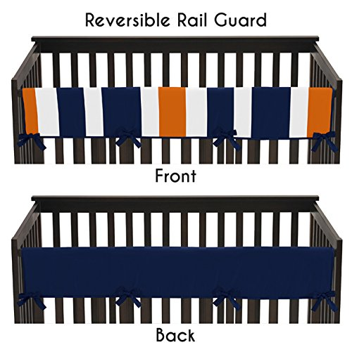 Sweet Jojo Designs Baby Crib Long Rail Guard Cover for Modern Navy Blue and Orange Stripe Print Bedding Collection