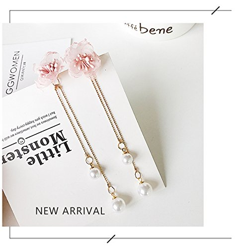 High-Season 2017 Trendy Korean Simulated Pearl Beads Pendientes Mujer Moda Elegant Chiffon Flower Earrings For Women Boucle D'oreille (Pink)