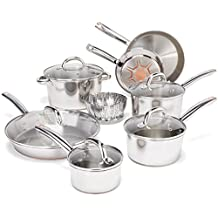 T-fal C836SD Ultimate Stainless Steel Copper-Bottom Heavy Gauge Multi-Layer Base Cookware Set, 13-Piece, Silver