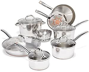 T-fal Cookware Set, Pots and Pans Set, 13 Piece, Stainless Steel with Copper Bottom, Silver