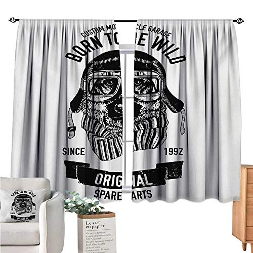 Linhomedecor Modern Kitchen Curtain Born to be Wild Quote with A Cool Dog Motorcycle Helmet Puppy Rider Animal Graphic Black White Drapes Panels W55 x L63