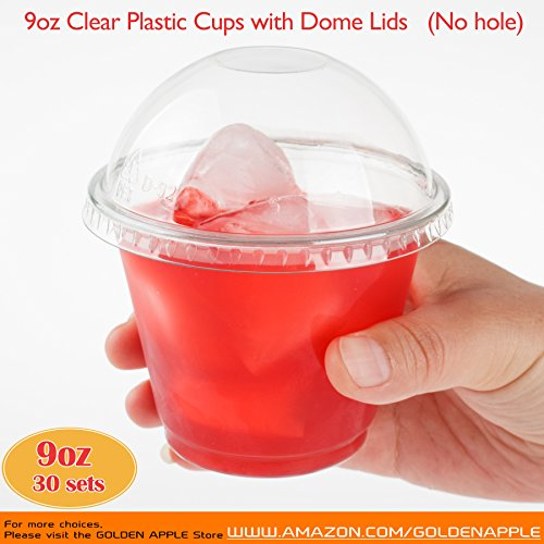 Clear Plastic Cups Lids - GOLDEN APPLE, 9oz. Clear Plastic Cups with no holes Dome lids (30 Sets) …