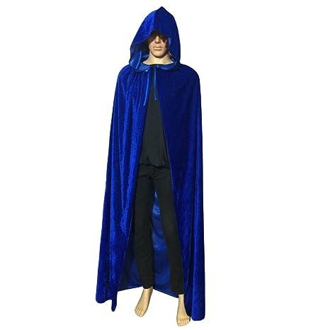 Halloween Unisex Deluxe Long Velvet Black Hooded Cloak Cape Vampire Fancy Dress