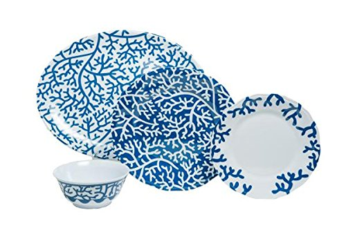 (Galleyware Blue Coral 19-Piece Melamine Dinnerware Set, Service for 6 with Platter)
