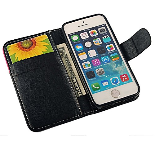 Smile Lächeln Design Flip Cover Leder Case Schutzhülle für Iphone 5 5S 5G Tasche Hülle Handytasche Etui Schale Backcover mit Standfunktion Kredit Kartenfächer (schwarz + rose)