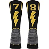 KitNSox Handball Athletic Socks, Mens Womens Antibactory Sport Soccer Football Mid Calf ID Socks Black 1 Pair