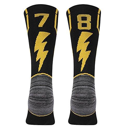 KitNSox Handball Athletic Socks, Mens Womens Antibactory Sport Soccer Football Mid Calf ID Socks Number 78 87 Black/Gold 1 ()