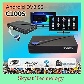 MU CCcam Newcamd DVB-S2 Android 4.4.2 TV Caja VIGICA C100S Android TV de Alta definición Receptor de satélite Quad Core HD Smart TV Box XBMC Dobly: Amazon.es: Electrónica