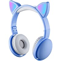 Andoer LED Cat Ear Headphones RGB Color Bluetooth 5.0 Headsets Noise Cancelling Foldable Adults Kids Earphone with Mic