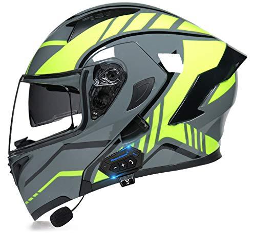 YLXD Integrierte Bluetooth-Motorradhelme mit doppeltem Visier, blendfrei, Motocross-Helm, leicht, für Männer und Frauen…
