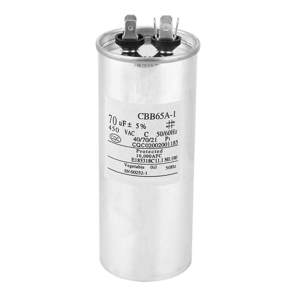 125x50mm CBB65 70UF 450V Waterproof Aluminum Shell Start Air Conditioning Compressor Capacitor Non-polar Electrolytic Capacitors Working in 40//70//21 Washing Machine Capacitor