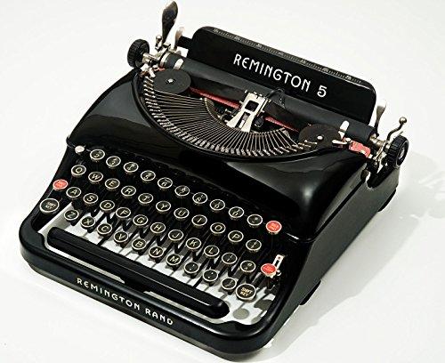 1937 Remington Rand Model 5 Streamliner Antique Manual Typewriter with Case (CVT-611) Vintage