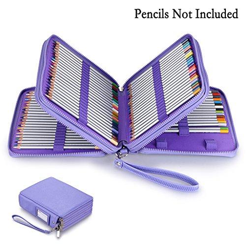 BTSKY 120 Slots Pencil Case - PU Leather Handy Large Zipper