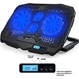 Image of Laptop Cooler, Aicheson Laptop Cooling Pad Chill Mat with 4 Quiet Fans USB Powered Adjustable Mounts Stand with LCD Display and LED Lights