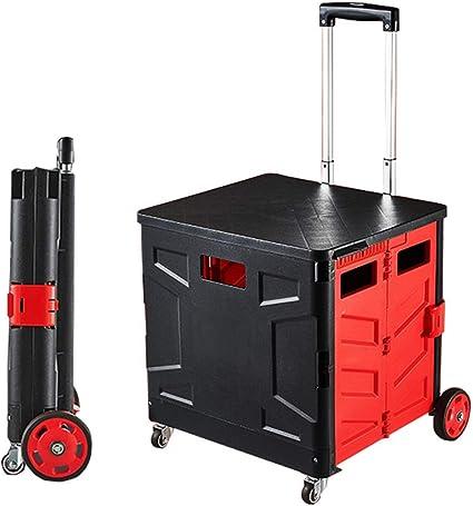 Carro plegable móvil con tapa, portador de herramientas portátil con cuatro ruedas, para personas mayores, carrito