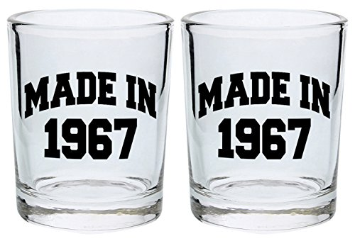 50th Birthday Shot Glass Made 1967 Birthday Gift Shot Glasses 2-Pack Round Shot Glass Set Black (Tom And Jerry Centerpiece)