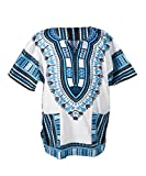 Lofbaz Traditional African Print Unisex Dashiki Size XL White and Blue