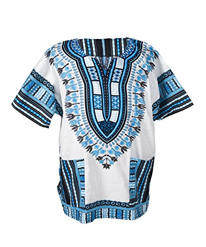 Lofbaz Traditional African Print Unisex Dashiki Size XL White and Blue by Lofbaz