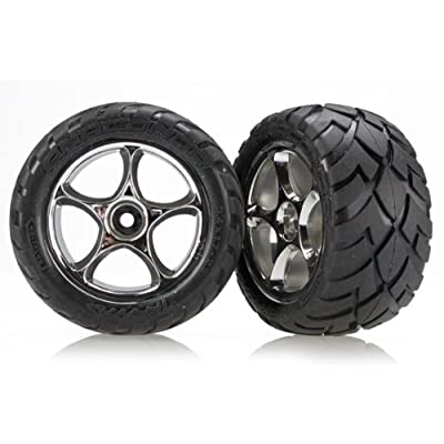 "Traxxas 2478R 2.2"" Anaconda Tires Pre-Glued on Chrome Tracer Wheels (rear): Toys & Games"