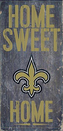 New Orleans Saints Official NFL 14.5 inch x 9.5 inch Wood Sign Home Sweet Home by Fan Creations 048487