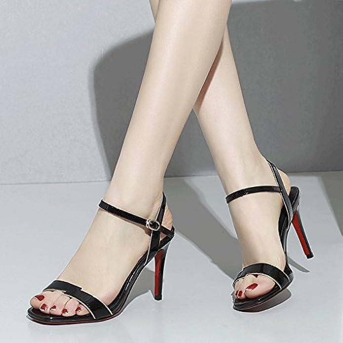 Hjhy® Sexy Sandali Scarpe Eleganti In Pelle Con Tacco Alto Stile Western Square Head Sandali Aperti