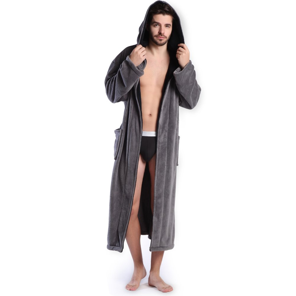 Hooded Herringbone Mens Gray Soft Spa Full Length Bathrobe Black Kimono Shawl Collar KEMUSI