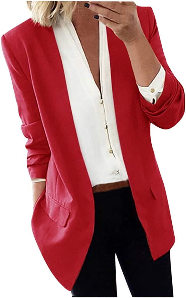 Damen Jacke Elegant Langarm Blazer Leicht Bolero Revers Sakko Einfarbig Slim Fit Anzug Business Kurzjacke Cardigan Strickjacke D/ünn Mantel Kurze Trenchcoat