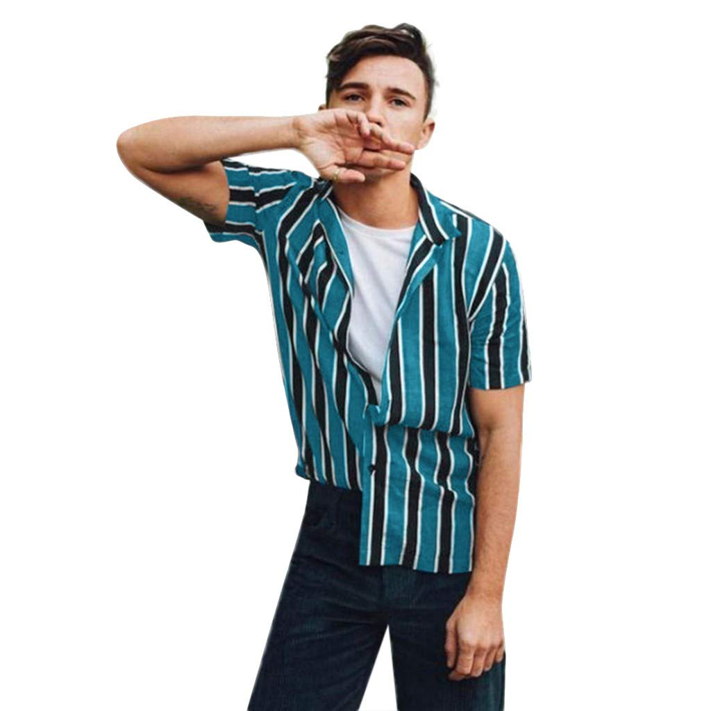 Giulot Men's Classic Striped Button Down Hawaii Shirt Hipster Relaxed-Fit 100% Cotton Tropical Fashion T-Shirt Blue