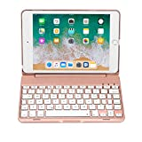iPad Mini 4 Keyboard (NOT for Mini 5th Generation 2019) - 135 Degree Flip - 7 Color Backlit - Auto Sleep/Wake - Ultra-Thin Keyboard Case for Apple iPad Mini 4 (2015) - Rose Gold