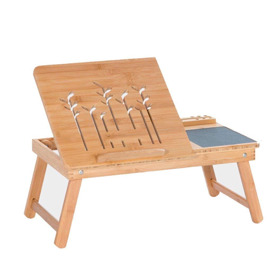 竹の小さな机の引き出しとマウスパッドの折りたたみ式テーブルのラップトップテーブルの東ベッド B07T3C4JV1