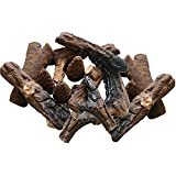 Regal Flame 18 Piece Petite Set of Ceramic Wood Gas Fireplace Logs Logs For All Types of Indoor, Gas Inserts, Ventless & Vent Free, Propane, Gel, Ethanol, Electric, or Outdoor Fireplaces & Fire Pits.