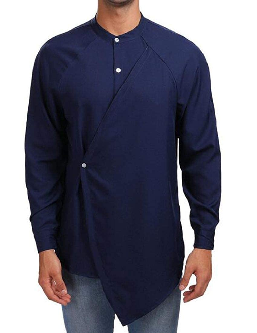 Abeaicoc Mens Long Sleeve Slim Button Front Casual Irregular Hem Shirt