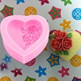 SDFC Soap Mould Heart Love Flower Silicone Mold For Handmade Cake Candy Party