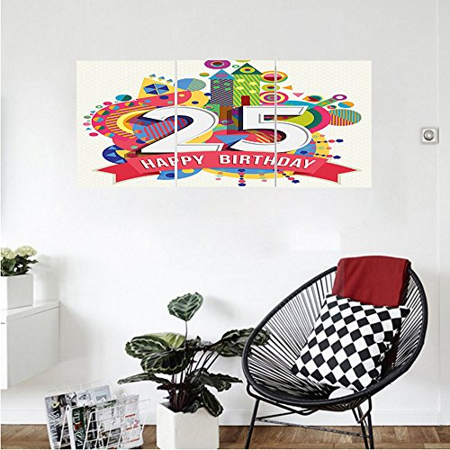 Liguo88 Custom canvas 25th Birthday Decorations Fun Celebration Greeting Card Inspired with Number Text Label Wall Hanging for Bedroom Living Room - Glasses Ford Tim