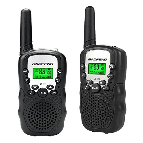 (BYBOO Baofeng T3 Kids Walkie Talkies Mini Two Way Radios Toys for Boys Girls Children UHF 462-467MHz Frquency 22 Channels - 1 Pair Black)