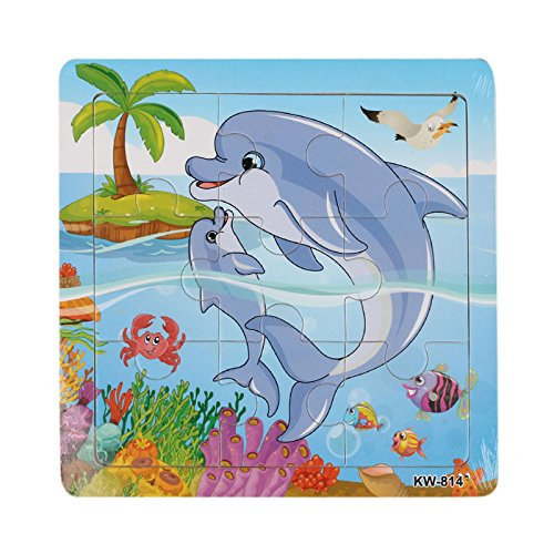 Colorful Wooden Zoo Animals Educational Jigsaw Puzzles Whale (Blue) - Whale Stem