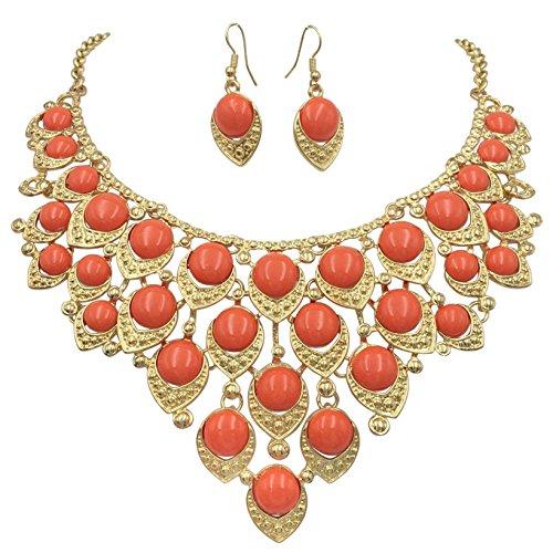 Drop Earrings Assorted Colours - Gypsy Jewels Teardrop Dot Cluster Statement Bib Boutique Style Necklace & Earrings Set - Assorted colors (Orange)